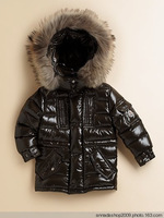 Baby down coat children's clothing child down coat male female child black medium-long large fur collar