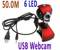 10pcs/lot NEW USB 2.0 50M USB 6 LED Webcam Web Cam Camera PC Laptop+Mic +CD free shipping