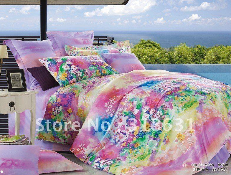 new listing colorful flowers printing bedroom sets comforter sets