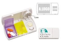 Promotion Plastic Multi-functional Pill Box with 2 cells and splitters