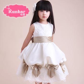 2014 Girls Dress Autumn Kids Wedding Party Night&Club Flower Dress Nice Pretty Princess Puff White Size 3-8Y Free Ship A13