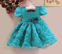 2014  New baby Girl Dress Blue Party Dress Fashion Ball Dress With Belt Baby Clothing Size: 1T,2T,3T,4T