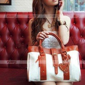 Korean Fashion Style Women's Hobo PU Leather Handbag Shoulder Bag White