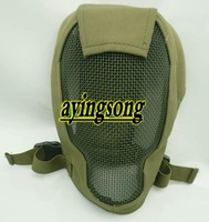 Free shipping .green Face Metal Mesh Protective Mask Airsoft Paintball Resistant Skull