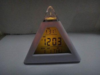 color changing Triangle Pyramid music Alarm Clock  Digital Multifunctional Thermometer Calendar Desktop