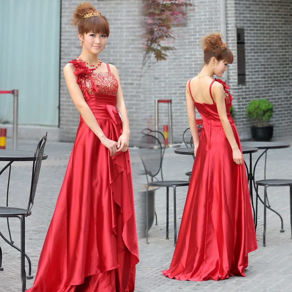 cheap aliexpress flower girl cocktail dresses 2013 of the wedding red long design spaghetti strap evening dresses gown(China (Mainland))