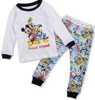 2014 Boys pajamas Mickey Mouse Donald duck Cartoon Design Long Sleeves pajamas Suit  toddlers Garment Free Shipping