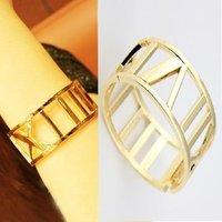 Free shipping ~ fashion retro hollow gold Roman numerals bracelet exaggerated alloy bracelet