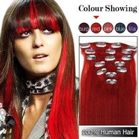 """18 """" 20"""" Free Shipping Human hair extensions 7 pcs/set Clips in , Red# color"""