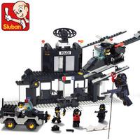 gift SlubanB1500 cop training camp Building Block Set Model Enlighten Construction Brick Toy Educational Block Toy for Children