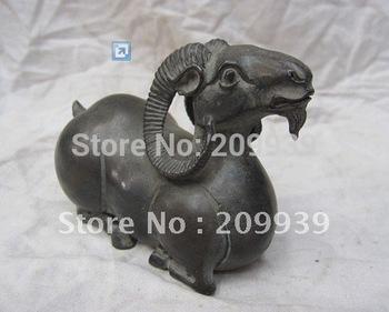 Chinese Zodiac Pure Bronze Sheep Goat Statue Animal Figurine