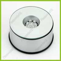 81mm Base Diameter Rotating Crystal Display Base Stand 7 LED Light With 3 Modes Free Shipping