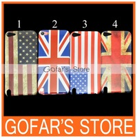 Retro National Flag Plastic Hard Case for iPod Touch 5 100pcs/Lot Top Quality