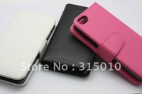 Promotion Case For iPhone 5 5G Stand Wallet Leather Cover With Credit ID Card Holder Leather Case, 50pcs/lot DHL Free Shipping
