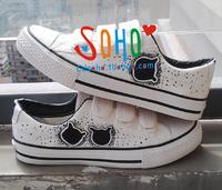 Hand-painted shoes cartoon bear unisex women's shoes graffiti shoes velcro