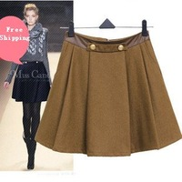 Free Shipping European Design Woolen Skirts Autumn Winter PU Patchwork Slim Pleated Skirt 4Colors S M L XL