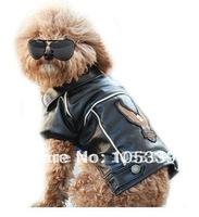 Free Shipping Fashion New Small Locomotive Suit Black Pu Waterproof Jacket For Dog Apparel Dog Costume Pet Jacket Hot Sale 0001