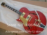 left handed JAZZ Semi Hollow Orange G6120 with Bigsby Tremolo JAZZ guitar China Guitar free shipping