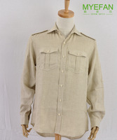 Free shipping Casual linen long-sleeve shirt beige plaid double bag plus size available