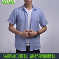 Free shipping Summer cool paragraph male linen shirt short-sleeve shirt outdoor blue casual