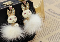 Lose Money Promotion,Fashion Rabbit-Earring,White /Black /Pink Color,Hot Sell(Mini order 10USD)