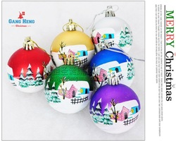 30pcs/lot Christmas tree ornaments 6cm printed xmas tree Christmas ball ,free shipping h165 mixed colors(China (Mainland))