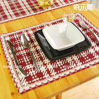 European cotton Red plaid  placemat Cute fashion dining table mat /Fabric insulation pad/ Eco-Friendly Mats & Pads Creative Home