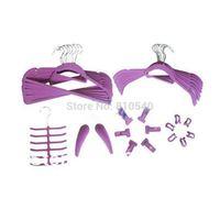 Multifunctional mixture items of  35 set  Fashionable  ABS plastic velvet flocked non-slip hanger & accessories of hanger
