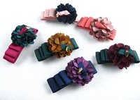 Hot Sale,2012 New Fashion Woman Silver Metal Hair Barrette With Ribbon Bow and flower High Quality hair accessories