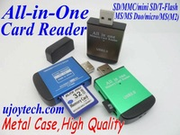 New Metal Case High Quality All-in-one Memory Card Reader Support Micro SD/SD/MS/M2/MMC/MS Duo/mini SD Card Reader Free Shipping