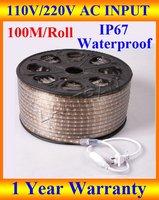 Wholesale 110v led strip light, led strip light waterproof IP67 110/220V 3528 SMD 60 led/M 100M/roll white/red/yellow/blue/green