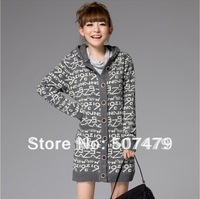 Autumn and Winter Medium-long Hooded Fashion Digital Letter Jacquard Full Sleeve Cardigan Sweater