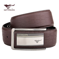 Male SEPTWOLVES strap genuine leather belt casual cowhide smooth buckle ha3154000-1