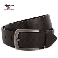 SEPTWOLVES male strap genuine leather pin buckle cowhide belt fashion ha128170000