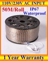 Wholesale 110v led strip, white/red/yellow/blue/green flexible led strip light waterproof IP67 110V 5050 SMD 60 led/M 50M/roll