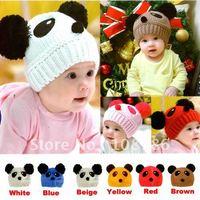 10pcs Free Shipping Wholesale Children's Winter Knitted Wool Hat,Baby Girl Boy Fashion Panda Hats,Kids Beauty Warm Baby Caps