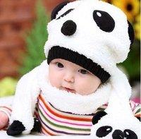 5sets free shipping Baby hat+scarf set Animal design winter children's panda baby hats,baby caps Warm velvet ear muff cap