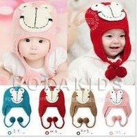 6pcs free shipping new Design Cartoon Frog Baby Hat, Fashion Earflap earmuffs Animal baby Cap Girl Baby WARM Winter Hats