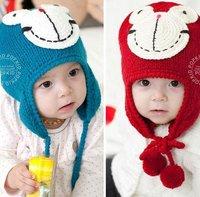 1pc Retail free shipping new Design Cartoon Frog Baby Hat, Fashion Earflap earmuffs Animal baby Cap Girl Baby WARM Winter Hats