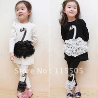 2013 Autumn Children's Clothing Set Baby Girls 1set Swan Suit kids lace paillette long-sleeve shirt+pant black white set
