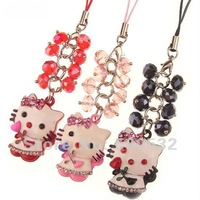 Free shipping, Wholesale 10 pcs/lot hello kitty cellphone pendant Cute charm for Mobile Fashion hanging drop charm, KT-2118