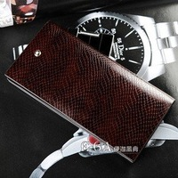 Drop shipping ,coffee men's wallet & Man luxurious Best Sell- Genuine Leather purse +100% Genuine Leather Snake Pattern,Man gift