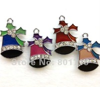 Free Shipping by China post air mail!!! 50Pcs/lot jingle bell with rhinestone Christmas Charms Pendants Mix Unique Enamel