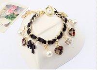 2013 Fashion Retro Heart Leopard Rhinestone Pearl Bangle Bracelet B2