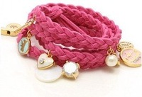 2013 New Arrival Hot Selling  Multicolor Knit Shell Heart Rabbit Fashion Charm Leather Bracelet B7