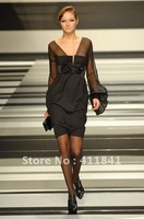 Free shipping elie saab New style Best selling black long sleeve evening gown short evening dress