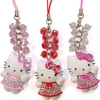Wholesale 10 pcs/lot hello kitty mobile phone charm fashion bag charm christmas gift , Free shipping KT-2118
