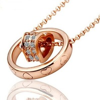 Lose Price Wholesale, Fashion Round-Necklace,Rose Gold,18K Gold Plated,High Quality(Mini order 10USD)