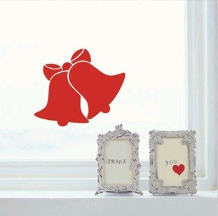Christmas bell wall glass door window stickers new year decoration Shop restaurant home Conveniently stick 30pcs different size(China (Mainland))