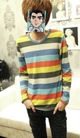 Men&#39;s fashion Spring and autumn men&#39;s clothing long-sleeve T-shirt lovers long-sleeve T-shirt stripe basic shirt hot-selling